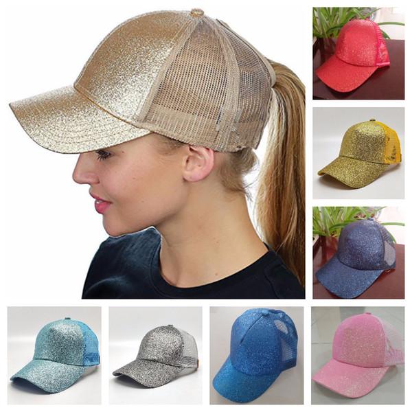 top popular Adjustable Unisex Hat Ponytail Baseball Hat Girls Softball Hats Back Hole Pony Tail Glitter Mesh Girls Sunshine Cap Hat Breathable Snapbacks 2021