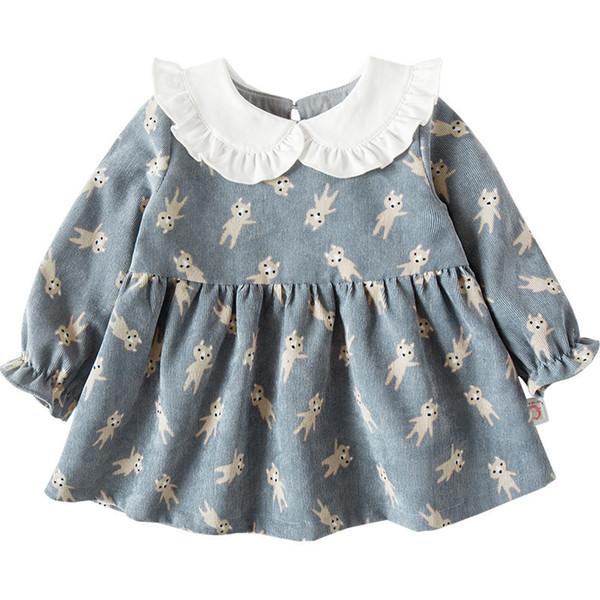 Kids Clothes 2018 New Girls Peter Pan Collar Cartoon Print Long-sleeved Girls Baby Dress Baby Clothing Dress 0-4t J190506