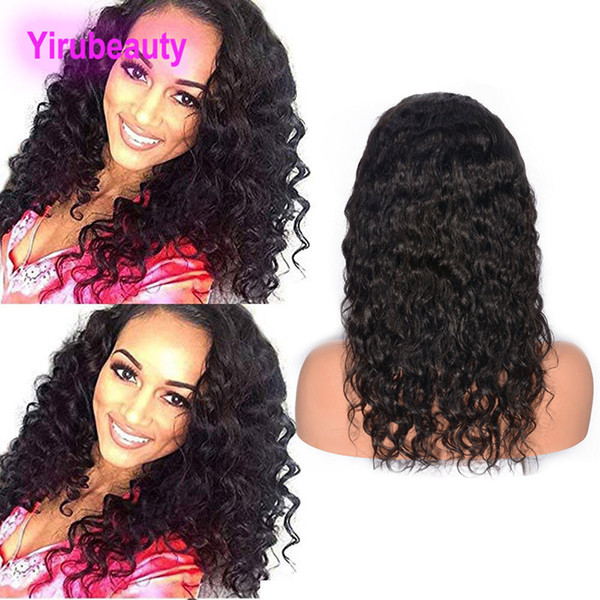 Malaysian Human Hair Lace Front Wigs Wet And Wavy 8-30inch Water Wave Natural Color Pre Plucked Adjustable Band Virgin Hair Products