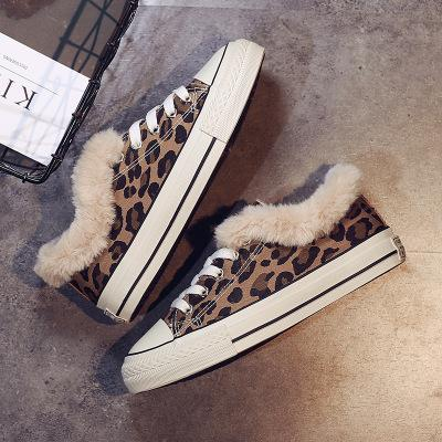Winter 2018 leopard print cotton shoes women's anti-velvet low-top women's vulcanized shoes warm and velvet women's shoes