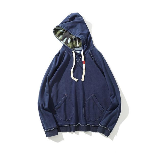 Men and Women Denim Washed Jeans Hoodies Long Sleeve Solid Retro Large Size Loose Solid Sweatshirt Dark Blue Streetwear Hooded