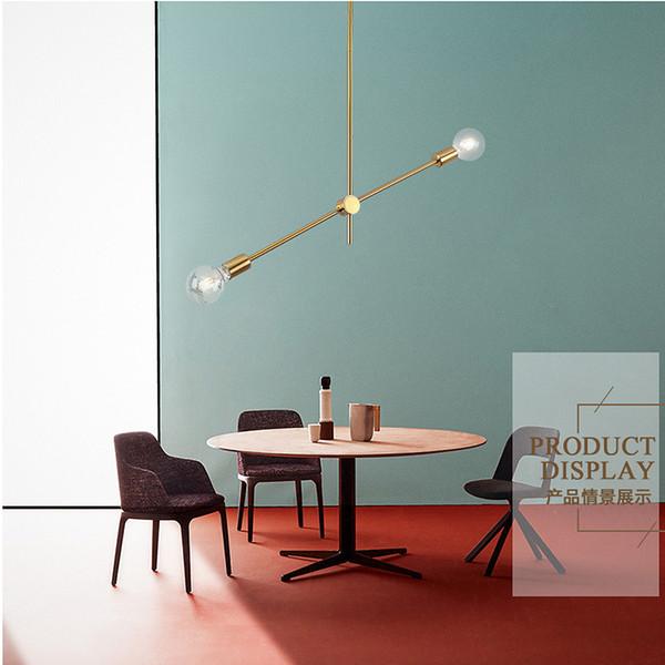 Acheter Simple Post Lumiere Suspendu Moderne Lampe Suspension Led Minimaliste Barre D Or Hall D Escalier Salon Salle A Manger Au Plafond Lampe