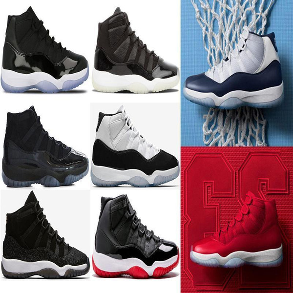 2019 11 Cap And Gown Men Women Basketball Shoes 11s Prom Night Black Concord Sneakers Gym Red Space Jam Gamma Blue Sports Shoes
