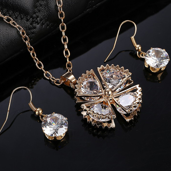 Bridal Wedding Jewelry Sets For Women 2017 Austrian Crystal Jewellery Sets Charm Gold Color Jewerly Sets African