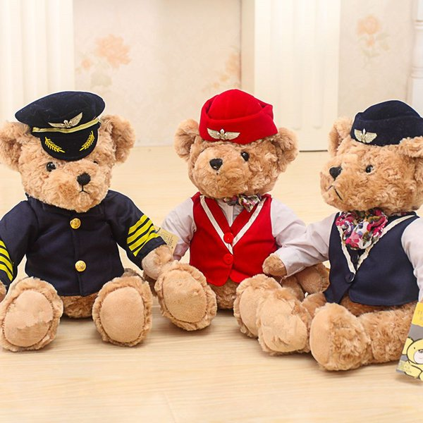 1pc 25cm Cute Pilot Teddy Bear Plush Toy Captain Bear Doll Birthday Gift Kids Toy Baby Doll Stuffed Animal Toys for Children