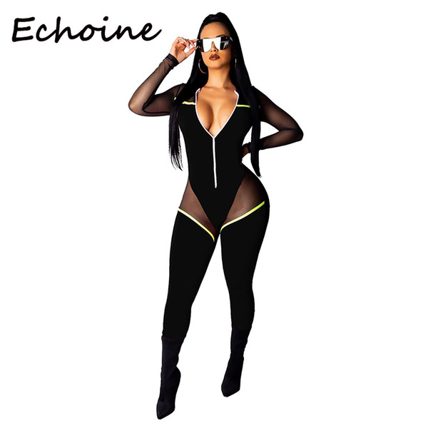 Echoine Sheer Mesh Patchwork Mono de manga larga Bodycon Playsuit Long Body Rompers Womens Jumpsuit Ropa de mujer 2019