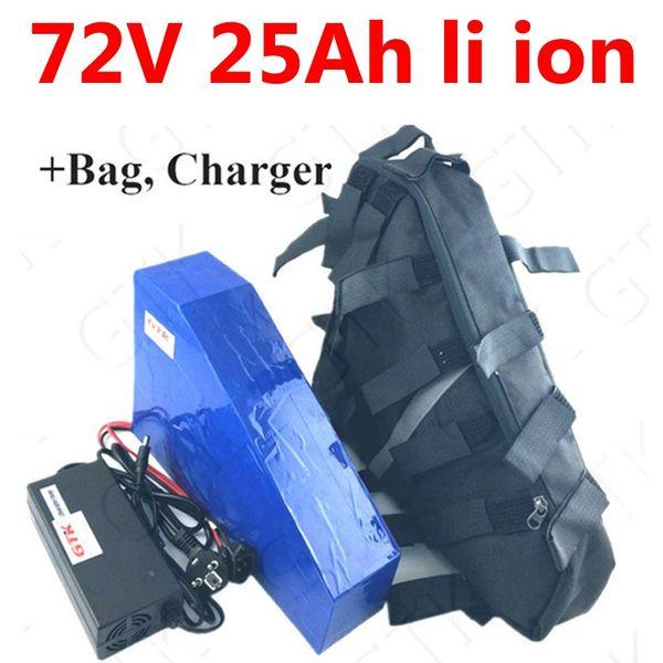72 V 25ah lithium-ionen Dreieck batterie 72 V 25ah li ionen 18650 BMS für 3000 watt 3500 watt Motorrad roller E fahrrad + 5A ladegerät tasche
