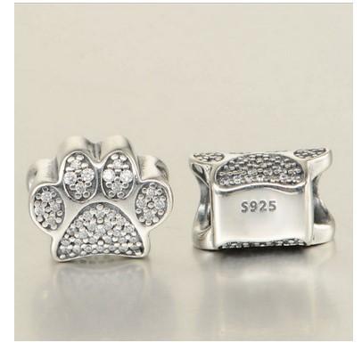 Serve para pandora pulseiras cães pata impressão gatos de prata charme talão animal pegada solta pérolas atacado diy europeu esterlina colar de jóias