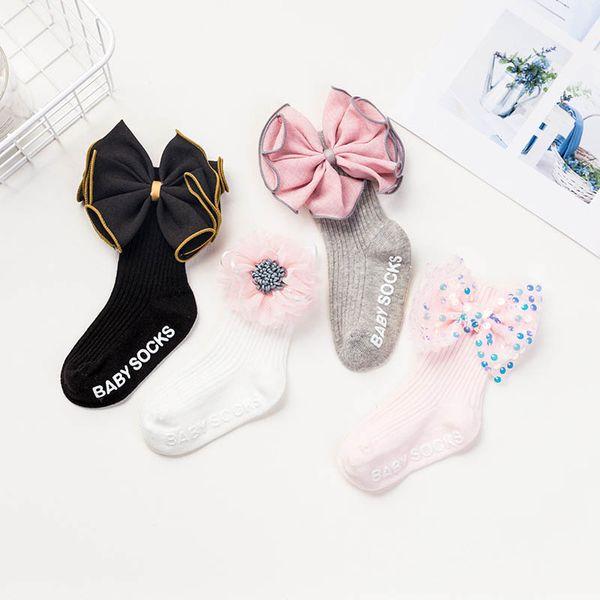 Chaussettes bébé grande filles fleur chaussettes enfants princesse de chaussettes en coton enfants vêtements concepteur filles bébé socquette cadeau A6709 haute qualité
