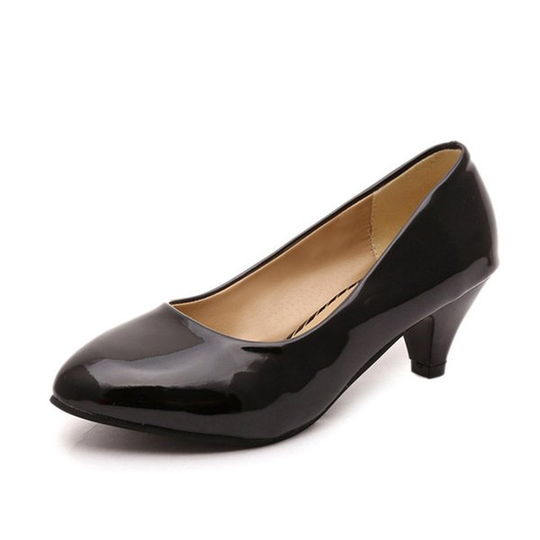 Designer Dress Shoes 2019 New Women Pumps Black Lo'w Heels Lady Patent Leather Spike With Autumn Round Single Female Sandals Big 35-40