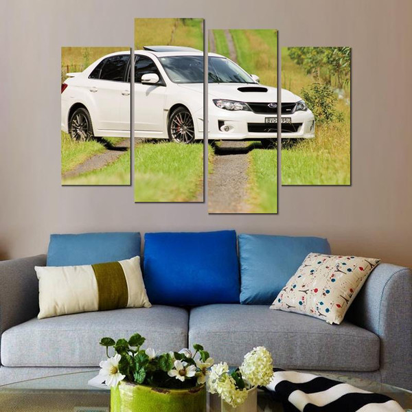 4 sets subaru impreza white canvas print arts pictures for dining room decor