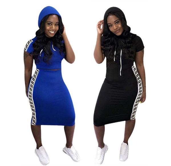Femmes 2 pièces robe sexy Club automne élégant vêtements d'hiver Efendi jupes t-shirt panoplies hoodies colonne gaine sweatsuit Livraison gratuite 1068