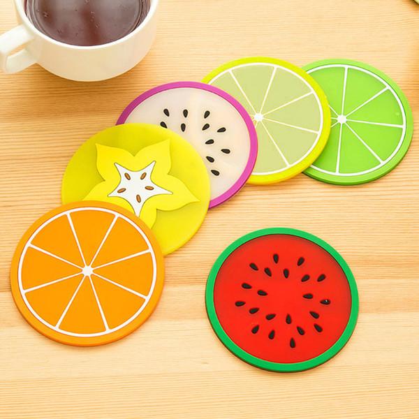 5pcs support de boisson chaude gelée de fruits forme de la tasse coupe tapis dérapage isolation silicone pad gel dessous de verre JS23