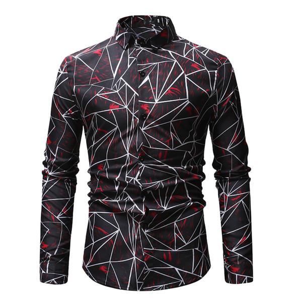 Striped Printed Man Shirt Handsome Boy Streetwear Clothes Turn-down MenTops Irregular Pattern Male Shirts Business Casual Wear