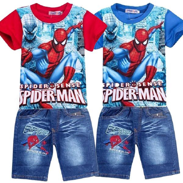 Kinder Sommer Spiderman Kleidung Sets Baby Kinder T Shirt Jeans Shorts Kleinkind Jungen Denim Hosen Sport Kleidung Set Q190530