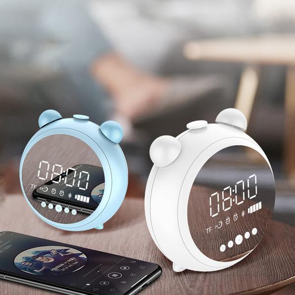New Espelho Tabela despertador com Bluetooth 5.0 Função Speaker TF FM AUX Eletrônica Digital Alarm Clock LED Night Decor Luz