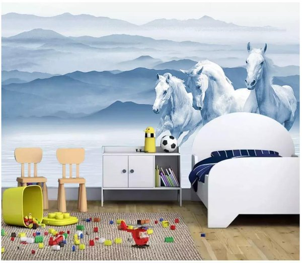 3d wall paper custom photo Silk wallpaper mural New Chinese original ink landscape running white horse children's bedroom wall home decor