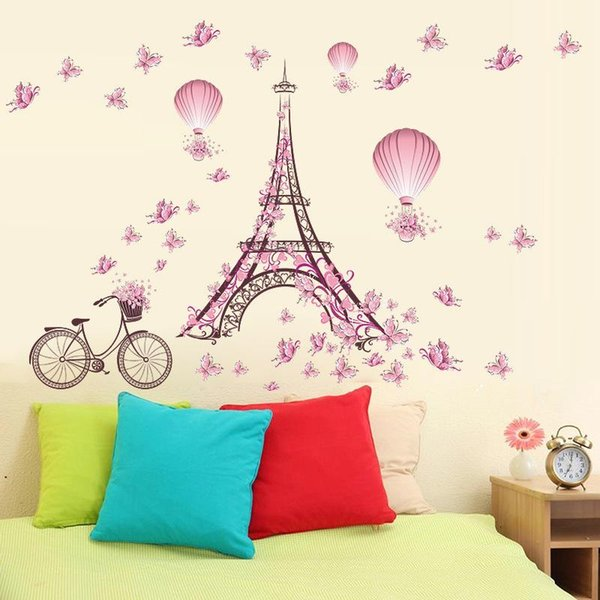 Four styles Paris Iron Tower Pink Colour Butterfly Living Room Bedroom Background Waterproof Wall decals Sticker