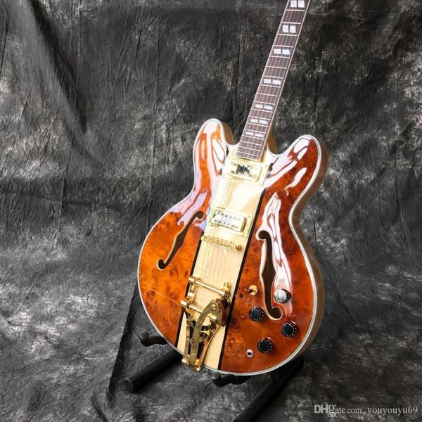 Personalizado de alta qualidade venda quente duplo f buraco oco corpo jazz guitarra elétrica, guitarra acessórios de hardware de ouro, qualidade superior