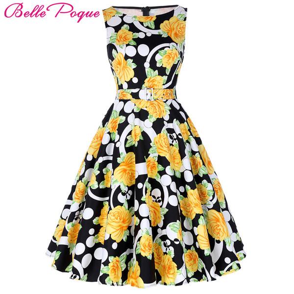 0ce46b82 2019 Belle Poque Print Floral 50s Vintage Dresses Audrey Hepburn 2018 Women  Summer Retro Dress Vestidos Robe Womens Casual Clothing Y190410 From ...
