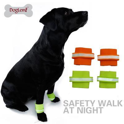 Free Shipping 2pcs Reflective Dog Wristband High Visibility Safety Pet Bracelet Night Running Hiking Walking for Small Large Dogs AJI-716