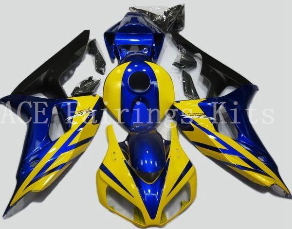 Alta calidad Nueva motocicleta ABS Kits de carenados completos + cubierta del tanque apta para HONDA CBR1000RR 06 07 2006 2007 conjunto de carrocería Carenado amarillo azul
