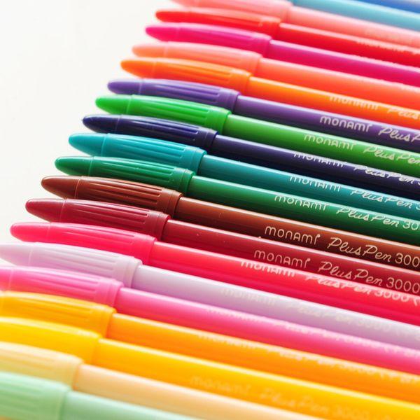 24 color Monami 3000 Felt Tip Drawing Pen 0.3 Mm Watercolor Pen Fineliner Scrapbook Color Ink Design Cute Stationary Kawaii