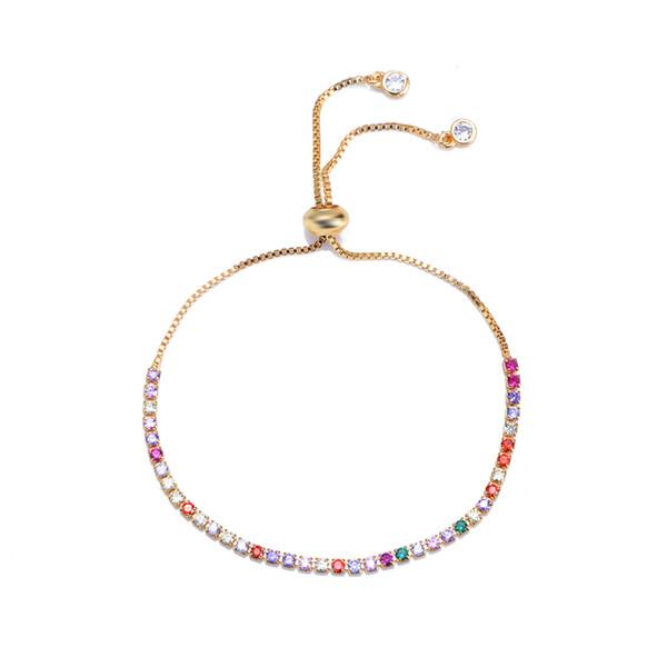 fashion colorful zircon charm women's bracelets bangles gold Bead buckle bracelets jewelry for women and girl student's bracelet