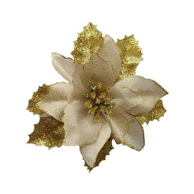 2019 13/15/17/20/22CM Christmas Flower Xmas Flowers Silk Fake Artificial  Poinsettia Flower Gold Silver Tree Decorations From Wonderlandonline,  $18.09