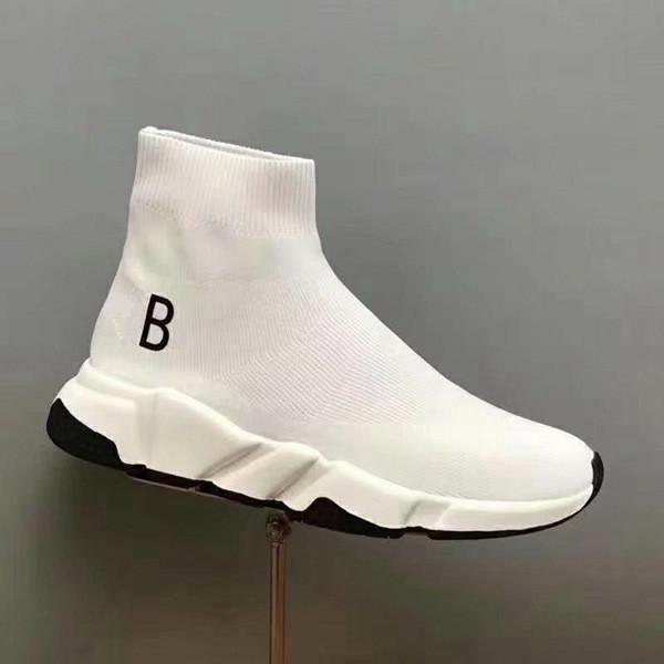Wholesale New Speed Trainer Woman Shoe Man Casual Boots High Quality Stretch-Knit High Top Yellow Red Fashion Designer Shoes Size 35-46