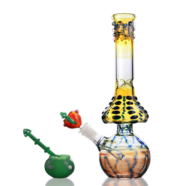 12.2 Inchs Big Tall Colorful Thick Glass Water Pipes Straight Tube Bong Mushroom 18mm 14mm Bowl Joint Hookahs Bong Dab Rigs