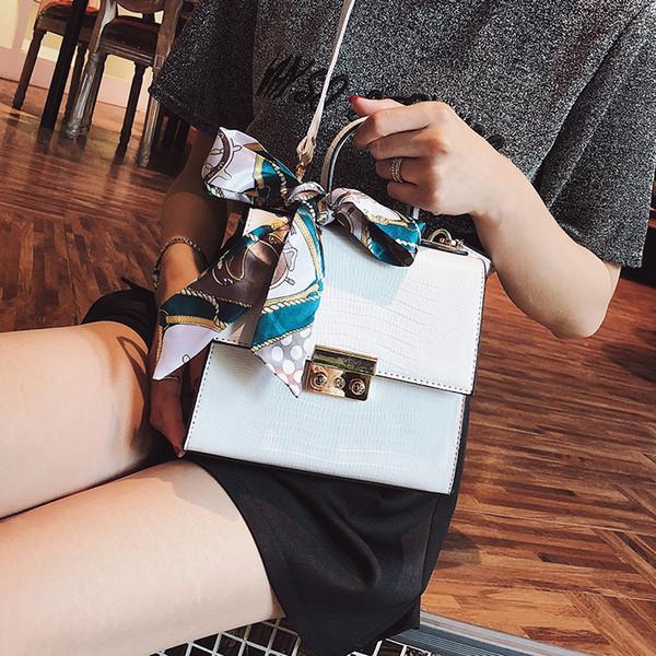 2019 Nuevas Mujeres de la Moda Bolso de Diseño Bolso Bolso Cuadrado Portátil de Calidad de Cuero de la Pu Bolso de Las Mujeres Tote Lock Bolso Crossbody Del Hombro