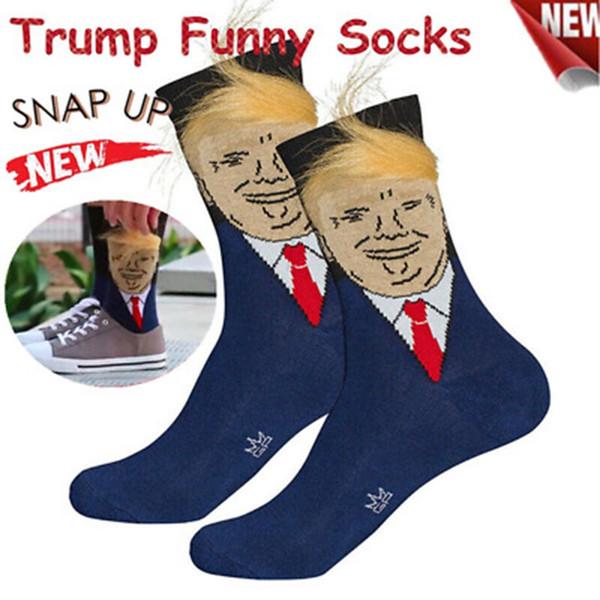 2019 Donald Trump Socks Yellow Hair Funny Cartoon Sports Socks