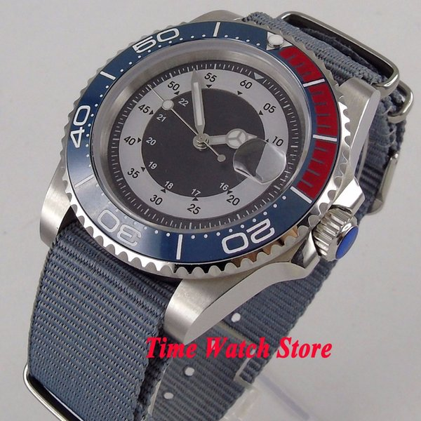 Luxury 40mm men's watch date magnifier luminous saphire glass ceramic bezel zulu strap MIYOTA Automatic movement watch men 123