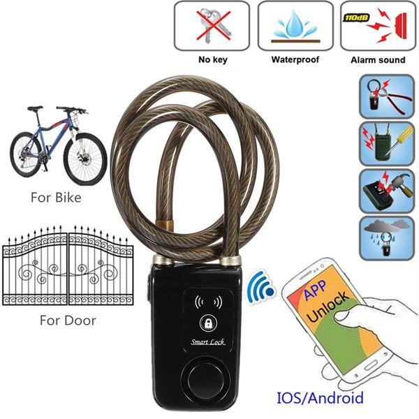 bluetooth Smart Lock APP Automatic Control Anti Theft Alarm 110dB Keyless For Bicycle Motorcycle IP44 waterproof Black Blue #532442