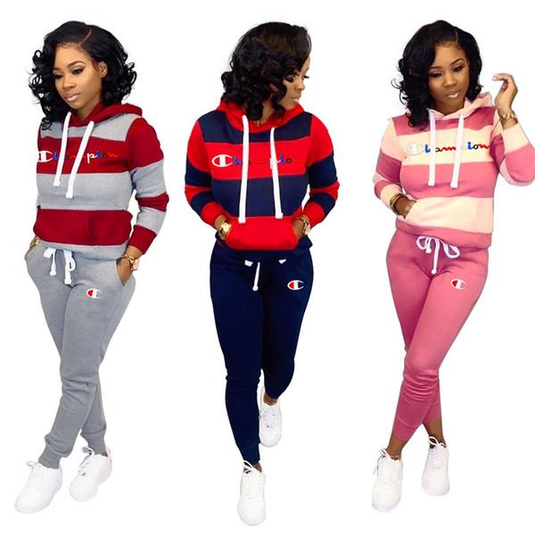 Campeão Bordados Cartas Conjuntos velo Sweatsuit Costura listrada Hoodies Leggings Calças Mulher com capuz Treino Sportswear C91606