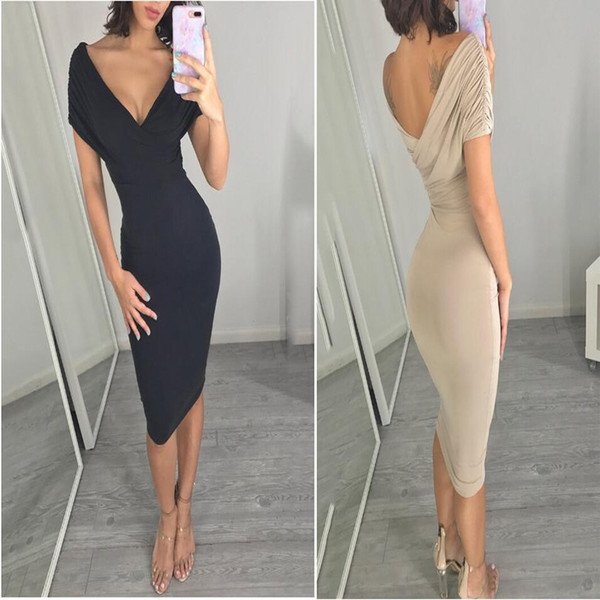 Brand New Women's Short Sleeve Dress Deep V-neck Pure Color Sexy Party Dress Hot Club Clothes