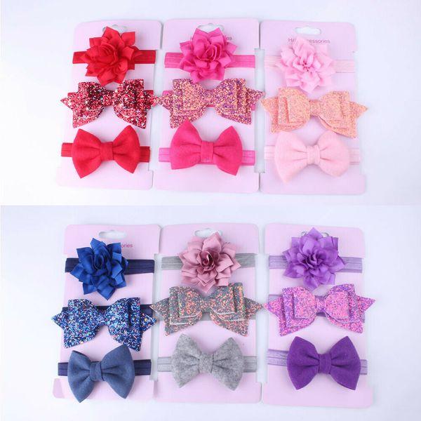 3 PCS / lot Fleur Bowknot Bandeaux Bébé Filles Mode Belle Bande De Cheveux Nouveau Style Enfants Chapeaux Cadeau Accessoires