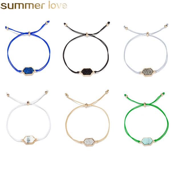 Fashion Gold Sparkling Crystal Quartz Druzy Bracelets Natural Resin Stone Wax Rope Bracelets Bangles for Women Summer Beach Chain Cuff