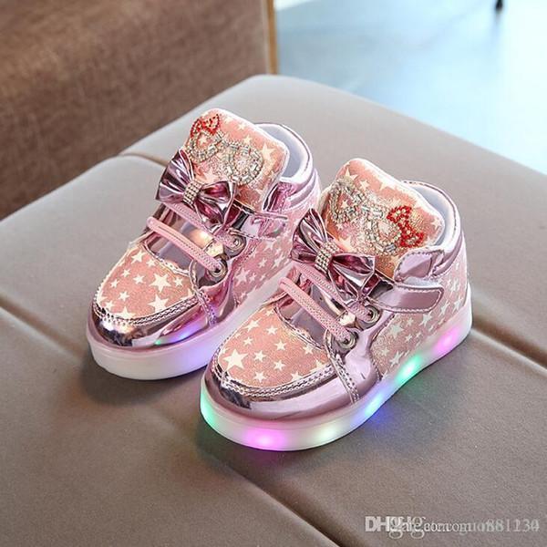 2019 Printemps Automne Baskets Pour Enfants Avec La Lumière Enfants Chaussures Pour Filles Toddler Casual Chaussures Avec LED Lumineux Baskets Lumineuses