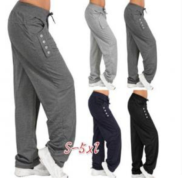 Kadınlar Casual Gevşek Harem Pantolon Düğme Bayanlar Pantolon Harem Rahat Yoga Pantolon Artı boyutu S-5XL alt AAA1761