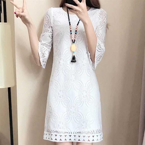 Femme Robes femme Vêtements Designer White Lace évider Robe Femmes Vintage 3 4 manches Vestidos Party Automne Hiver Femmes Club robe