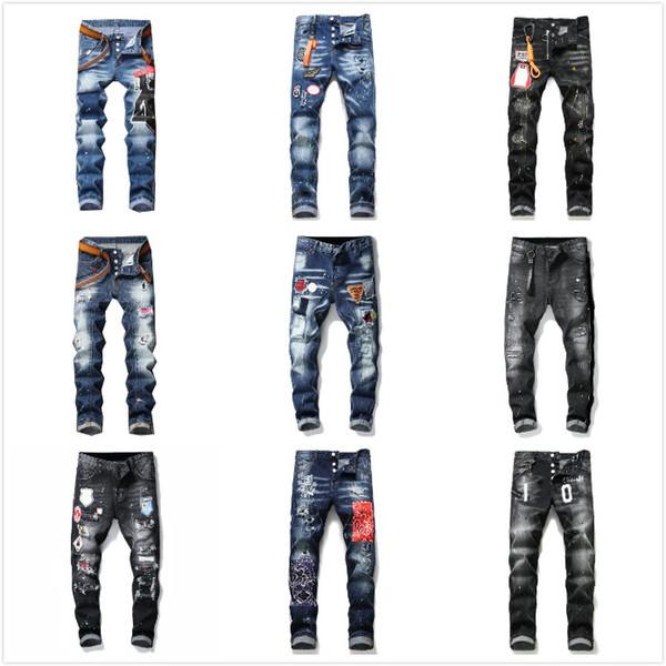 top popular mens denim jeans black ripped pants best version skinny broken H2 Italy stlye bike motorcycle rock revival 2021