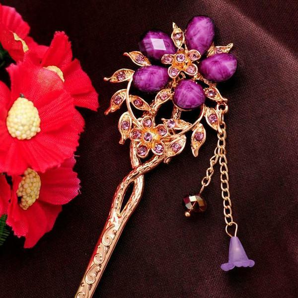 New Design Hair Stick Rhinestone Red/Purple/Blue crystal Flower Chains Hairpin