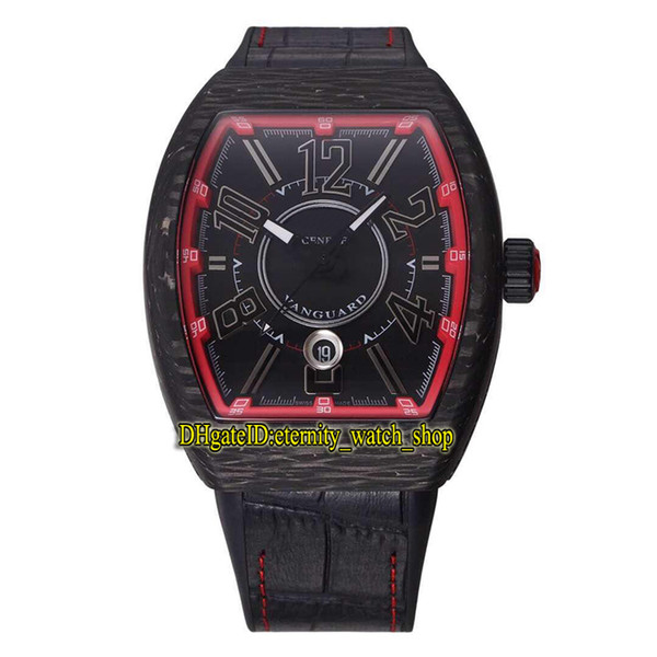 Top Quality New VANGUARD Luminous Carbon material Case Red Date Dial Japan Miyota Automatic Mens Watch Leather Rubber Strap Sport Watches