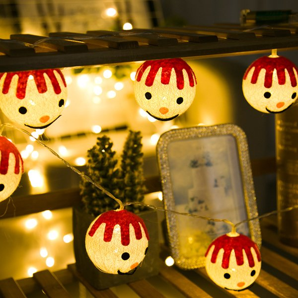 Christmas Ball Garland.Led Ball String Lights Wedding Light Christmas Indoor Smile Face Cotton Ball Garland Festival Lamp Fairy Party Garden Decor Home Battery String Lights
