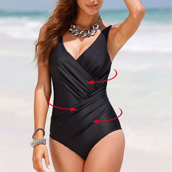 New Summer sexy push up backless Leotard female fold style solid swimsuit large size swimwear one piece Bathing suit women