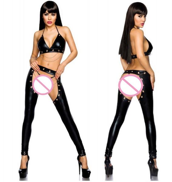 Chaîne de fer Underwear Night Club Girl Pole Dance Vêtements Magnifique femme sens cuir Set avec soutien-gorge et T-dos Couple flirter