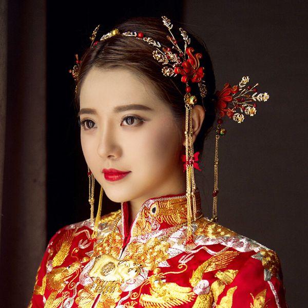 Himstory Chinese Traditional Gold Red Bridal Headdress Hair Jewelry Handmade Long Tassel Flower Headband Hair Pins Headwear