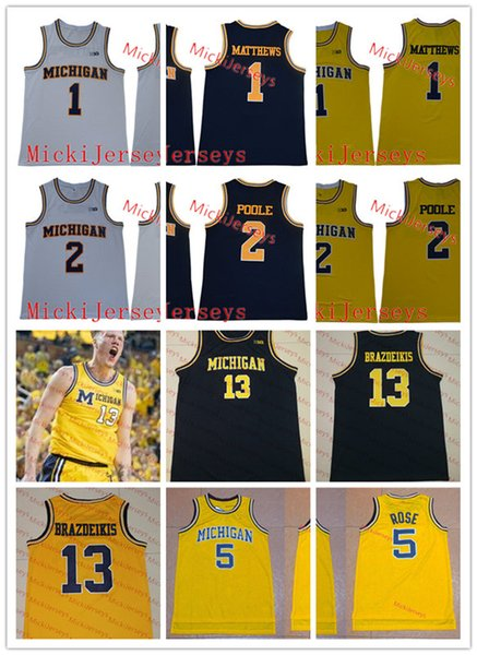Mens Michigan Wolverines Iggy Brazdeikis Basketball Jersey #5 Jalen Rose #1 Charles Matthews #2 Jorda Poole Michigan Jersey S-3XL